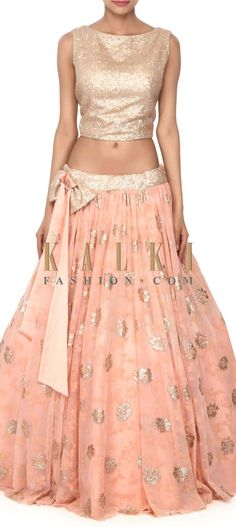 Buy this Peach lehenga adorn in sequin work only on Kalki