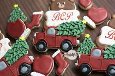 Christmas truck and tree with Christmas Bear personalized. Sugar cookies, decorated cookies, royal icing, desserts, Maddy Ds, stocking cookies, mitten cookies, Christmas Tree Cookies, Christmas Truck Cookies
