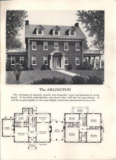 Better homes at lower cost, no. 17 by Standard Homes Co. Publication date 1930 T… Better homes at lower cost, no. 17 by Standard Homes Co. Publication date 1930 THE ARLINGTON Pin: 1275 x 1755 Colonial House Plans, House Floor Plans, Building Plans, Building A House, Vintage House Plans, Vintage Houses, Mediterranean House Plans, Sims House, House Layouts