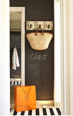 Chalkboard wall and add magnetic paint for a dual purpose. I got this idea from Maegan.