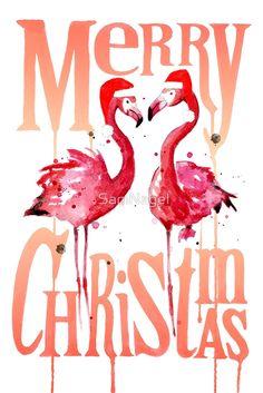 'Christmas Flamingos' T-Shirt by SamNagel Blue Christmas Decor, Tropical Christmas, Beach Christmas, Coastal Christmas, Christmas Art, Christmas Decorations, Christmas Flamingo, Caribbean Christmas, Christmas Quotes