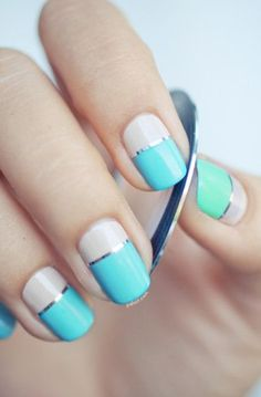 Two-tone nails  | Neutral & Bright Colored Nail Polishes