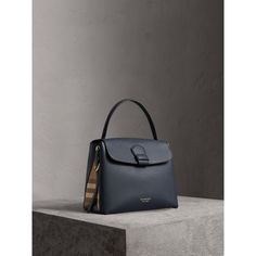 Medium Grainy Leather and House Check Tote Bag in Ink Blue - Women   Burberry United States