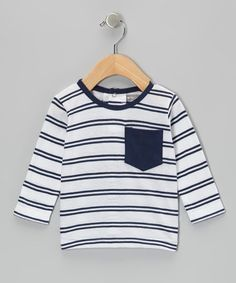 Look what I found on #zulily! Navy & White Pocket Stripe Tee - Infant & Toddler by Petit Confection #zulilyfinds