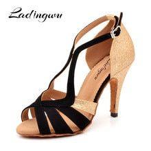 7a5f8b5d117f Ladingwu 2018 nueva marca negro/oro de las mujeres zapatos de baile zapatos  brillo y