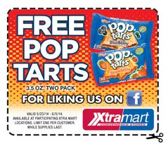 XtraMart $$ Reminder: Coupon for FREE Two Pack of Pop Tarts – Expires TODAY (6/5)!