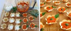 Flower Crisps filled with Creamy Goat Cheese and Roasted Red Pepper Pesto (makes 14)