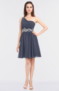Nightshadow Blue Sexy A-line Asymmetric Neckline Sleeveless Zip up Mini Bridesmaid Dresses