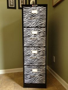 4 Drawer Zebra Print  Filing Cabinet