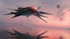 Sci-fi art artwork spaceship airplane aircraft futuristic military technics fighter jet f wallpaper | 2560x1440 | 697827 | WallpaperUP