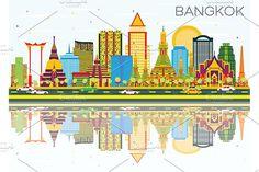Bangkok Skyline with Color Landmarks @creativework247