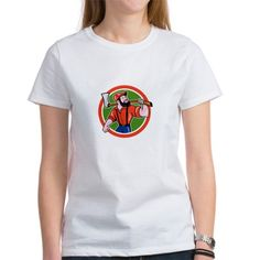 LumberJack Holding Axe Circle Cartoon T-Shirt