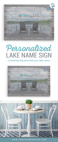 Add the name of your favorite lake to this personalized canvas sign. It makes the perfect wall art for your lake house and is a great gift for lake friends.