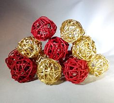 Decorative Spheres (Red and Gold) Rattan Vase Filler Christmas Ornament Decoration Holiday Bowl Filler WFD http://www.amazon.com/dp/B016N2ZEO0/ref=cm_sw_r_pi_dp_rQblwb1Y0ZV9G