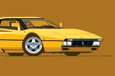 1986 Ferrari 288 GTO Print in Giallo Modena illustration