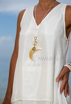 mother of pearl necklace: Mother of pearl Moon pendant