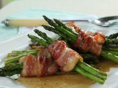 Asparagus Bundles from Trisha's Southern Cooking on FoodNetwork.com -- I think I would try this without the brown sugar