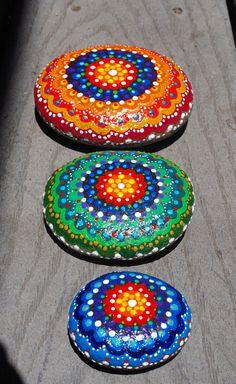 Three Painted River Stones-Peace Stones/ Mandala Stones