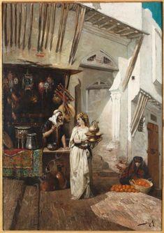 """P.M. Beyle  (1838-1902)  """"Un bazar à la casbah d'Alger"""" - Tobogan Antiques"""