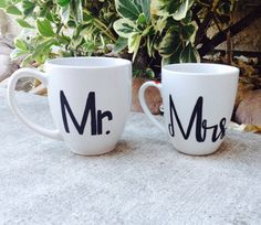 Mr. and Mrs. his and hers coffee mugs couples gift.    If your like me and have a husband over 6 ft. tall, then a 12 oz mug just isnt going to cut
