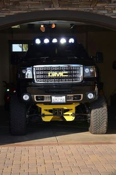 monster black GMC lifted truck