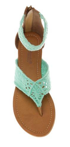 Mint macrame sandals