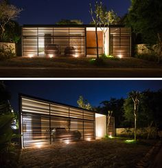Upon arriving at this 2 bedroom house, you are greeted by the garage which is lit up enabling you to see the cars within.