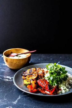Grilled curry vegetables with coconut raita