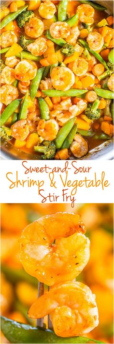 Sweet-and-Sour Shrimp and Vegetable Stir Fry - Big juicy shrimp and crunchy veggies coated in tangy sauce are a hit with everyone!! Easy, healthy, ready in 20 minutes, and way better than takeout!!