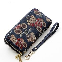 """Sweet Dream Women Cartoon Bear Zipper Wallet Card Holders Handbag Long Purse. Zipper closure. Designed to hold cash, cards and other little things; you can simply hold it on hand or put it in bag. Attached 8 card slots, 2 zippered pocket .Big currency pocket. Convenient feature for those who travel. Size:7.9""""x3.9""""x1.7""""inches. Package Included: 1pc * Women Wallet."""