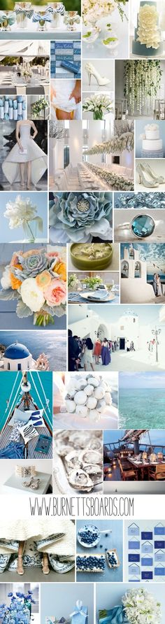 dusty blue and white wedding inspiration from www.burnettsboards.com