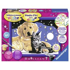 Schilder een snoezige hond en kat onder een schitterende sterrenhemel met deze schilderset van Ravensburger. Dankzij de gekleurde buitenlijnen en de nummertjes in de middelgrote vlakken herken je gemakkelijk de benodigde kleuren. Na het schilderen hang je het kunstwerk aan de muur in het bijpassende lijstje. De set bestaat uit 10 kleuren acrylverf op waterbasis, een penseel, voorbeeldblad, een lijstje en een schilderpaneel. Afmeting: verpakking 22 x 16 x 4 cm - Schilderen op Nummer…