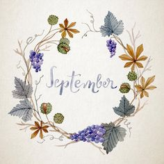Hand-painted watercolour flower wreath for September
