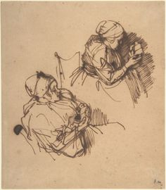 Two Studies of a Woman Reading Rembrandt (Rembrandt van Rijn) (Dutch, Leiden 1606–1669 Amsterdam) Date: 1635–40