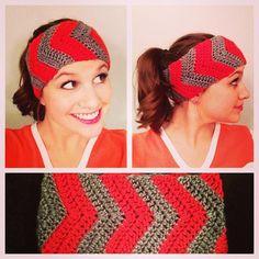 Chevron Earwarmers / Headband Crochet PATTERN by CrochetByCaitlin, $4.00