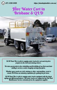 D and M Plant Hire also deals in water cart services all over the Brisbane and QLD. They supply water in both dry hire projects and wet hire projects. Wet And Dry, Brisbane, Cart, Trucks, Water, Plants, Projects, Covered Wagon, Gripe Water