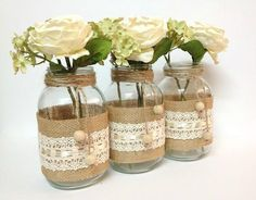 3 burlap and lace mason jars home decor wedding por PinKyJubb