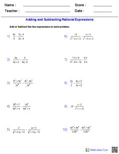 Adding and Subtracting Rational Expressions Worksheets | Math-Aids ...