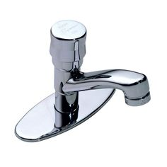 Symmons Metering Single Hole 1-Handle Bathroom Faucet in Chrome (Grey) with Deck Plate