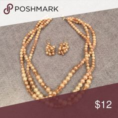 Pink/beige pearl & bead necklace/earrings Pink & beige colored pearl & bead triple row necklace with matching earrings. Avon Jewelry Necklaces