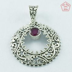 RUBY AGATE STONE 925 STERLING SILVER BEAUTIFUL RAVA DESIGN PENDANT PN4953 #SilvexImagesIndiaPvtLtd #Pendant