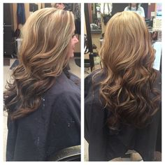 Reverse ombré Blonde highlights Loose Waves Long Hair Blonde to dark brown