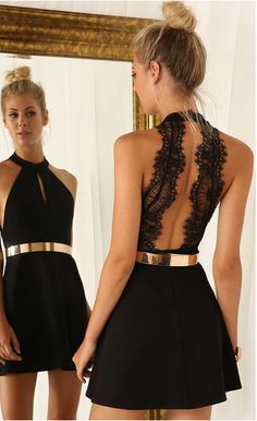 Sexy Black Party Dress Backless Prom Dress Lace