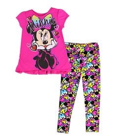Love this Fuchsia Minnie Mouse Grafitti Top & LEggings - Kids by Penguin on #zulily! #zulilyfinds