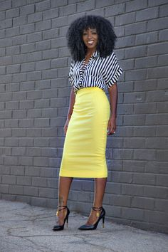 striped top, yellow pencil skirt