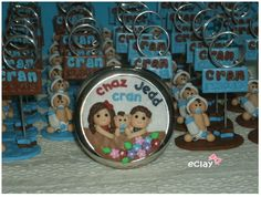 baptismal souvenirs, baby dolls, compact mirror, family, polymer clay, handcrafted