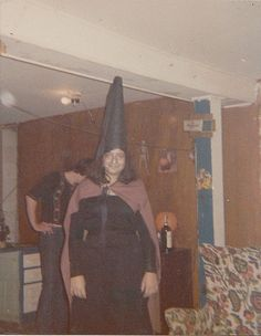 Old Vintage Photograph Young Girl in Witch's Costume Halloween