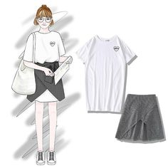 T-shirt and skirt sold separately but looks perfect as a set.<br /><br />One free size<br />Measures: <br />T-shirt length 82 cm, bust 100 cm, sleeve 17 cm<br />Skirt length 45 cm, waist cm, spandex waist<br /><br /> Korea Fashion, Daily Fashion, Women's Fashion Dresses, Casual Dresses, Dress Sketches, Fashion Design Sketches, Fashion Models, Cool Outfits, Clothes For Women