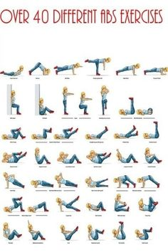 40 Different Ab Exercises! Never get bored with simple crunches again! http://thepageantplanet.com/category/diet-and-exercise/