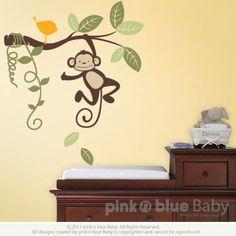 Hanging Monkey - Kids Vinyl Wall Sticker Decal Set Included 1 Bird   pinknblueBaby - Children's on ArtFire